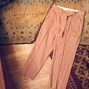 Wool rose mauve high waisted pants